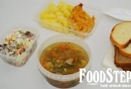 """Комплексный обед """"Энергия"""" с куриным филе и мясными щами"""